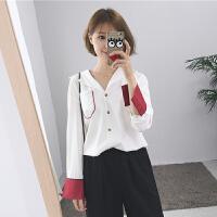 春装2018新款韩版百搭显瘦西装领撞色长袖衬衫女宽松中长款开衫