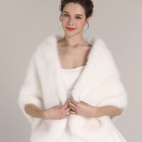 2017新款仿狐狸毛皮草礼服外搭秋冬新娘结婚婚纱披肩旗袍保暖外套