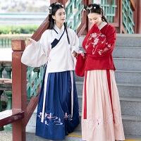 冬装新款女装古风刺绣加厚呢子中长款风衣外套女秋冬保暖斗蓬外套 粉色 9687二件套