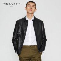 【全场2件2.5折,到手价:662.3】MECITY男春季羊皮真皮夹克外套男修身帅气机车