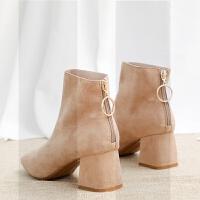 短靴女秋冬2018新款韩版裸靴粗跟加绒网红马丁靴英伦风切尔西靴潮SN3391