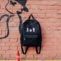 港风街拍防水尼龙双肩包韩国校园女学生书包刺绣背包