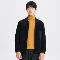 【1件2.5折到手价:224.8】MECITY男装冬季新款男士棒球领绗棉短款工装夹克棉衣外套