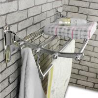 浴室卫生间折叠毛巾架带挂钩不锈钢浴巾架挂卫浴挂件洗衣机置物架