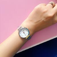 韩国韩版森女金属银色简约复古石英手表圆形女学生腕表闺蜜 表