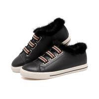 2018冬季新款二棉鞋女加绒保暖毛毛豆豆鞋韩版学生休闲板鞋冬鞋女软底