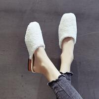 毛拖鞋女外穿2019新款包头半拖韩版懒人社会半托鞋粗跟网红穆勒鞋 白色 半拖鞋
