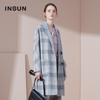 INSUN/恩裳商场同款复古羊毛西装领中长款格子呢子大衣9C37580050