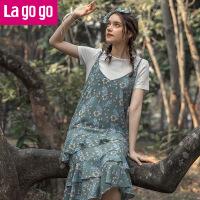 【5折价165.5】Lagogo2018春夏季新款时尚印花连衣裙女装两件套小清新雪纺吊带裙