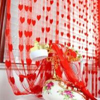 婚房装饰布置窗帘 结婚门帘 喜庆门帘韩式桃心形爱心线帘婚庆用品