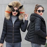 冬季新款大毛领棉衣女短款修身加厚大码羽绒韩版棉袄女装外套