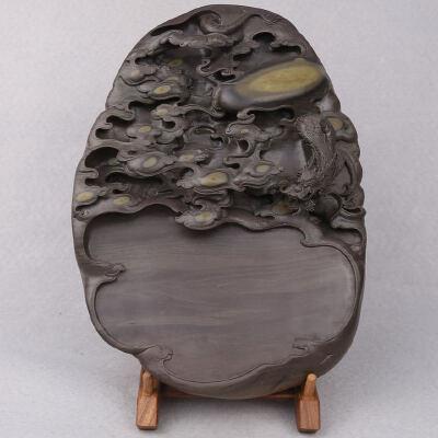 端砚梅花坑 《中华腾龙》砚 工艺美术师 钟湛良作品