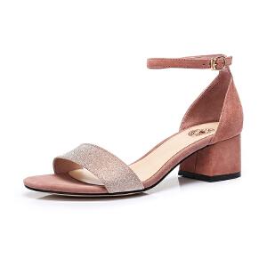 骆驼女鞋 2018夏季新款一字扣带简约粗跟凉鞋韩版舒适中跟鞋女