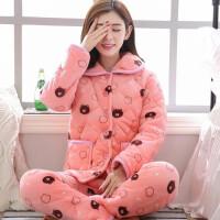 睡衣女冬季可爱珊瑚绒三层加厚夹棉卡通保暖长袖法兰绒家居服套装