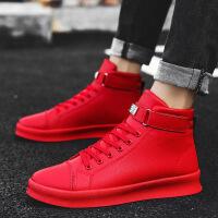 冬季高邦男鞋红色高帮板鞋韩版潮流运动休闲红鞋加绒保暖棉鞋潮鞋