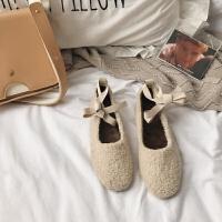 豆豆鞋女棉鞋2018韩版网红仙女加绒晚晚风绑带芭蕾懒人鞋软底瓢鞋