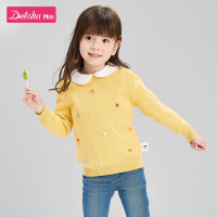 【3件1.5折价:38】笛莎童装女童针织衫2020春秋儿童时尚洋气上衣女宝宝套头毛衣