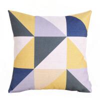 棉麻抱枕靠垫靠枕简约北欧几何黄色原创设计沙发客厅三角美式