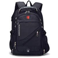 双肩包男女背包商务旅行包瑞士军刀包17寸电脑包学生书包 17寸黑色升级版带USB