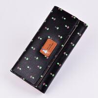 韩版小清长款钱包女士时尚钱夹印花3折女式手机包s6 黑色