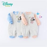 迪士尼Disney童装 婴儿保暖连体衣迪斯尼卡通印花夹棉爬服冬季新品衣服194L813