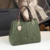 新款欧美时尚大包中年妈妈手提包单肩斜挎包复古包包真皮女包 绿色 大号