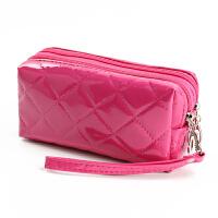 韩版女士钱包手机包零钱包手拿包手抓钥匙包小拎包潮流休闲妈妈包 大格子玫红色