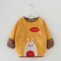 W 宝宝罩衣女孩水长袖吃饭衣秋冬儿童围裙钻石绒婴儿男童围兜护衣K