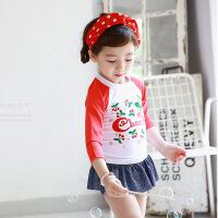 儿童泳衣新款分体裙式女孩女童长袖防晒温泉保暖学生游泳衣 红袖樱桃