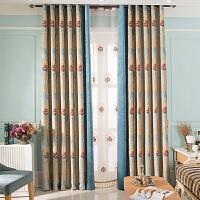 欧式窗帘加厚遮光客厅卧室落地窗飘窗提花雪尼尔拼接窗帘成品 需要几米拍几米
