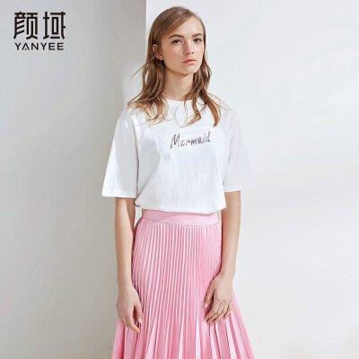 颜域2018夏季新款女装休闲上衣白色字母宽松短款半袖圆领T恤女潮