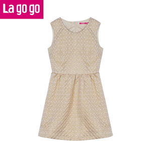 Lagogo/拉谷谷2014年冬季新款圆领拉链无袖连衣裙
