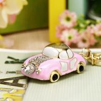水晶水钻可爱甲壳虫汽车钥匙扣女包包挂件钥匙链饰品 粉红色 公主小车