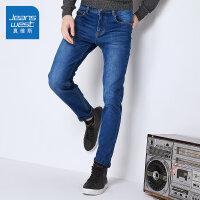 [一件5折价:78元]真维斯加绒加厚牛仔裤男修身 冬装男士弹力韩版小脚裤子