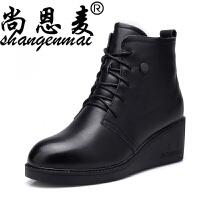 春季新款女靴子真皮短靴妈妈鞋保暖棉鞋坡跟羊毛靴厚底牛皮女棉靴 黑色