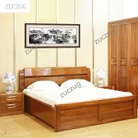 ZUCZUG全实木双人床1.5米 1.8米 高箱体气动杆储物黄金胡桃木现代中式实木家具 +头柜*2 1800*2000