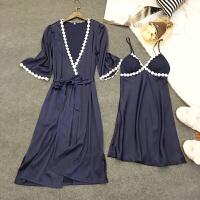 性感睡衣女夏吊带睡裙两件套薄款冰丝二件夏天丝绸睡袍带胸垫长裙