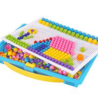 【支持*】儿童蘑菇钉大号拼图插板益智力玩具1-2-3-6周岁7男孩女孩种磨菇钉5lu