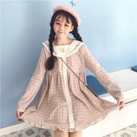 春装女装2018新款韩版刺绣娃娃领中长款格子裙长袖连衣裙学生长裙