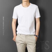 丝光棉短袖男士T恤纯棉圆领冰丝半袖中年长袖宽松潮流男装衫夏季