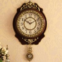 钟表客厅创意潮流静音美式挂钟个性复古北欧时钟欧式小石英钟 18英寸