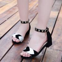 女童凉鞋新款韩版夏季公主凉鞋儿童凉鞋真皮小高跟中大童鞋