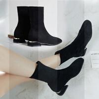 靴子女短靴小跟新款秋平底网红瘦瘦靴弹力袜靴大码女鞋40-41-43冬SN3462 黑色 (单里)