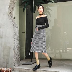 七格格黑色格子半身裙秋装女新款百褶裙夏花苞裙高腰显瘦韩版