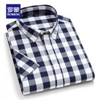 【补贴价:59】罗蒙男士格子衬衫2021夏季新款商务休闲百搭短袖衬衣上衣男