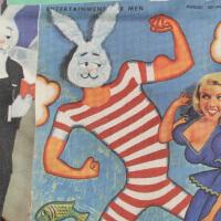 MOMO设计品牌 大力兔 原创日系文艺复古印花帆布袋双肩包抽绳背包 双肩包