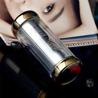 高档玻璃杯 双层带盖水杯创意男女士水杯 便携过滤网玻璃茶杯A635