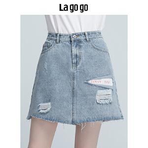 【清仓3折价107.7】Lagogo/拉谷谷2019年夏季新款时尚学院风清新牛仔半裙HABB115A36