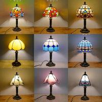 台灯欧式地中海风格餐厅酒吧咖啡厅小台灯彩色玻璃床头灯具n6a