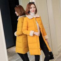 冬季新款女中长款时尚百搭韩版显瘦H型羽绒棉袄翻领女装 XX